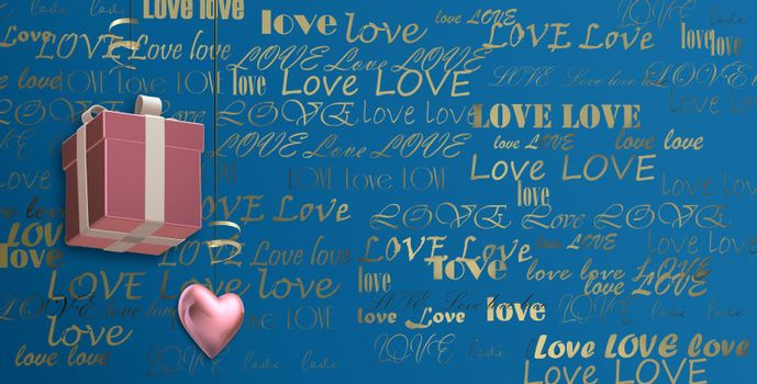 Gold multiple words LOVE on blue background, 3D gift box and pink heart. Valentines, birthday, mothers day background, 3D illustration
