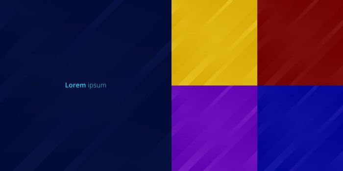 Set of abstract yellow, red, purple, blue background stripes geometric diagonal motion lines. Vector illustration