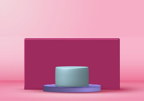 3D rendering with podium minimal pink pastel scene, minimal stand pedestal background for show cosmetic product, Showcase, shopfront, display case. Geometric shape. Vector illustration.