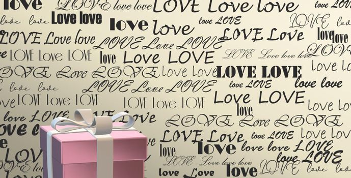 Word LOVE on gold background, 3D gift box. Valentines, Love, party invitation, mothers day, 8th March, wedding, greeting card. Place for text. Elegant love design. 3D render