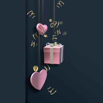 Love hearts, 3D gift pink boxes on dark blue black background. Valentines, Love, party invitation, mothers day, 8th March, wedding, greeting card. Place for text. Elegant pink loves design. 3D render