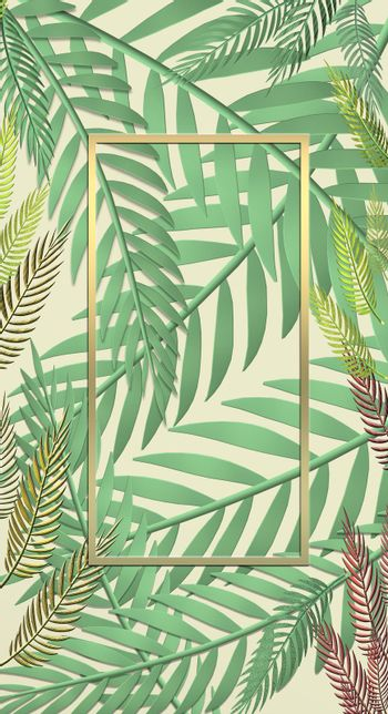 Tropical leaves on yellow pastel background. Exotic botanical design for cosmetics, spa, perfume, beauty salon, travel agency, florists, wedding invitation, cards. Mock up. 3D illustration