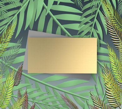 Tropical leaves on dark blue background. Gold gift label for mock up. Exotic botanical design. Mock up. 3D illustration