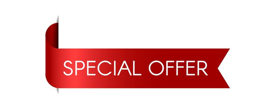 Special offer red ribbon. Vector sale label. Realistic 3D modern banner. Sale price symbol.