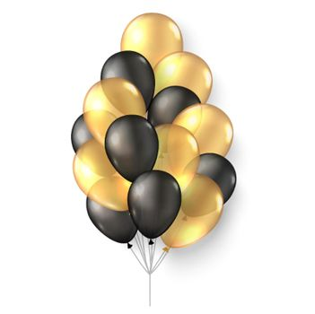 Gold black balloons. 3d realistic happy holidays flying air helium ballon mock up. Black friday new year birthday party poster card design.