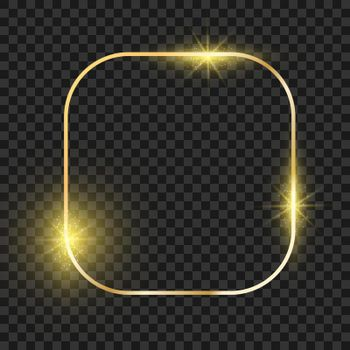 Rectangle golden frame with round corner. Gold magic square christmas shiny border. Vector realistic glow boarder