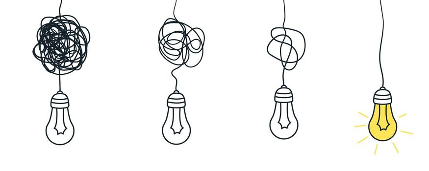 Confuse path. Understand simple process. Messy or busy complex. Vector idea concept with lightbulb