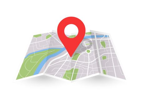 Folded city map with pin. Paper 3D location place icon. Vector gps navigation concept