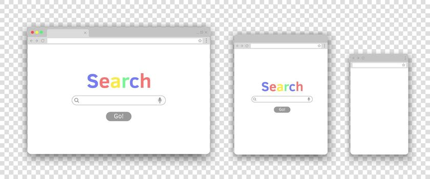Search window for mobile computer laptop tablet devices. Browser interface for different monitors. Vector realistic illustrations.