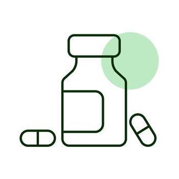 Medicine bottle and pills vector icon. Medicament