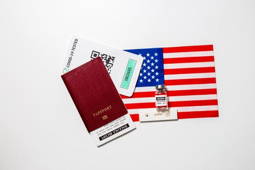 Immunity passport allows you travel during lockdown, Vaccination passport against covid-19 in the USA. Certificate for people who have had coronavirus or made vaccine.