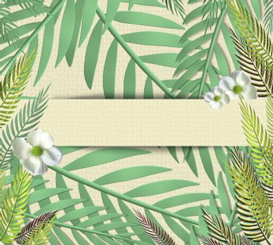 Tropical leaves in paper strip on paper background. Place for text, mock up. Top view, flat lay. 3D illustration