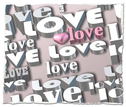 words LOVE on pastel background, 3D pink heart, pink world love. Valentines, party invitation, mothers day, 8th March, wedding, greeting card. Place for text. Elegant pink loves design. 3D render