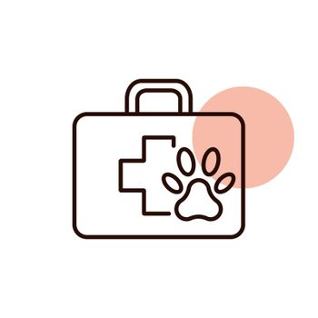 Pet first aid kit vector icon. Clinic box. Graph symbol for pet and veterinary web site and apps design, logo, app, UI