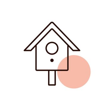 Nesting box or birds house vector icon. Graph symbol for pet and veterinary web site and apps design, logo, app, UI