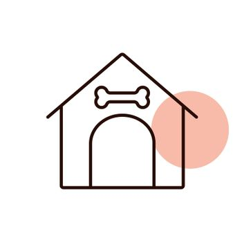 Dog house vector icon. Pet animal sign. Graph symbol for pet and veterinary web site and apps design, logo, app, UI