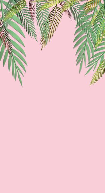 Tropical green leaves pattern on pink background. Exotic wallpaper. 3D illustration