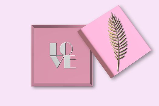 Empty Open gift box. Pink open box, text love on pink background. Valentines, love design Sale, surprise, gift, birthday, wedding, Valentines, loves template. Mock up, Flat lay, top view. 3D render