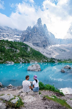Beautiful Lake Sorapis Lago di Sorapis in Dolomites, popular travel destination in Italy