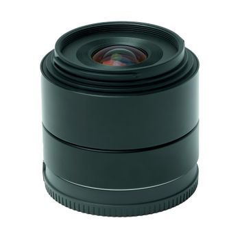 A modern prime photo lens from the side