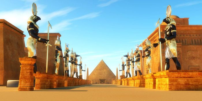 Statues of Egyptian gods line a street in ancient Egypt including Amun, Anubis, Hathor, Horus, Maat, and Ra.