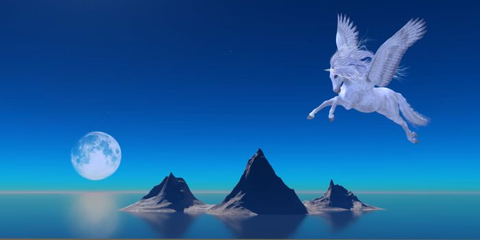 A beautiful white Pegasus flies over the calm waters of the ocean as a full moon reflects on the water.