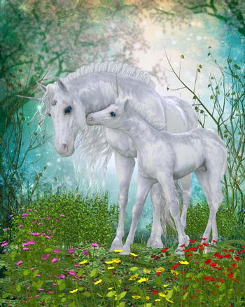 A Unicorn foal nuzzles its mother for reassurance in the magical forest full of flowers and a cherry tree.