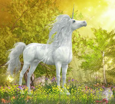 A white Unicorn stallion stands in a meadow full of yellow flowers, Coneflowers and mushrooms.