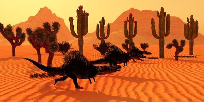 Three Arizonasaurus dinosaurs go hunting for prey at sunset in the Arizona desert in the Triassic Period.