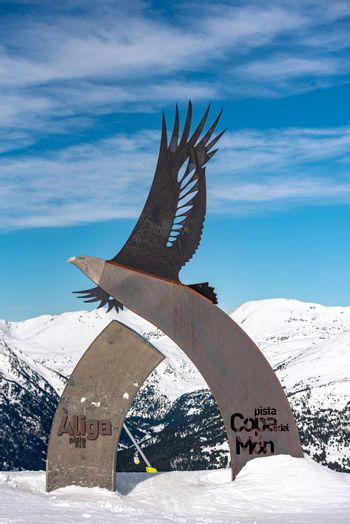 Statues in commemoration of the 2016 alpine ski world cup in Andorra in 2021