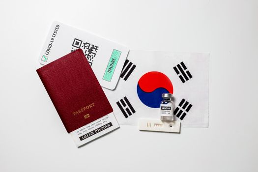 Immunity passport allows you travel during lockdown, Vaccination passport against covid-19 in South Korea. Certificate for people who have had coronavirus or made vaccine.