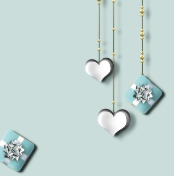 Pretty love card, Valentines card with hanging hearts. gift boxes on pastel green background. Cute love story. Valentine's Day, Love greeting card. 3D Illustration