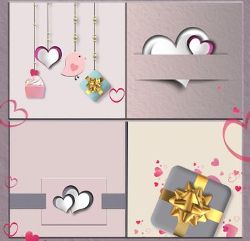 Modern abstract love collage for Valentine in pink colour, wedding birthday card with hearts, gift boxes. Pastel Vintage collection. 3D illustration