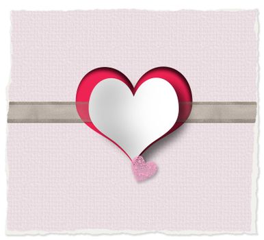 Heart, ribbon on pink background. Love, Valentines, wedding design. Paper heart on organza ribbon on vintage background. Cute loves story. Copy space, place for text. 3D illustration