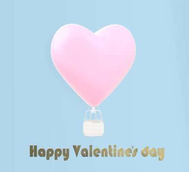 Love Valentine's card air heart balloon on blue pastel background. Valentines cute card. Gold text Happy Valentine's day, 3D illustration
