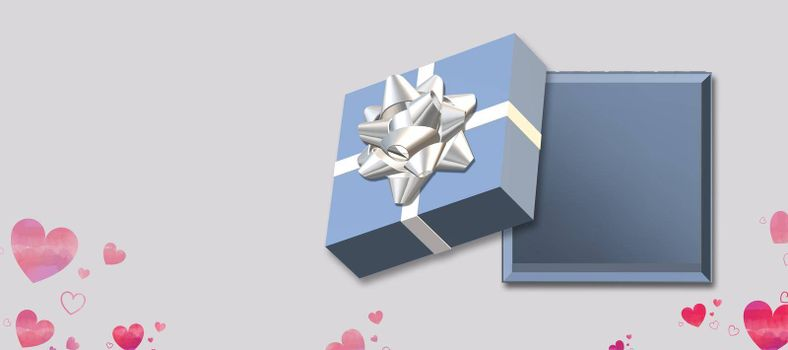 Open blue gift box top view. Love gift box with heart shape confetti on pastel background. Love, Valentines, birthday, Mothers day, Christmas, New Year. Mock up, place for text. Vertical. 3d render