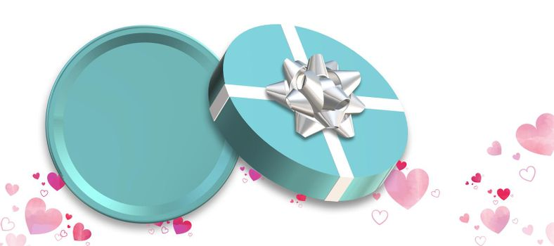 Gift box, present top view on white background, confetti. Turquoise blue box flat lay, place for text, mock up. Valentines, love design, sale, surprise, gift, birthday, wedding, Valentines 3D render
