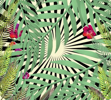 Exotic jungle plants tropical leaves. Pattern, floral 3D illustration on the black yellow geometric background. Nature wallpaper.
