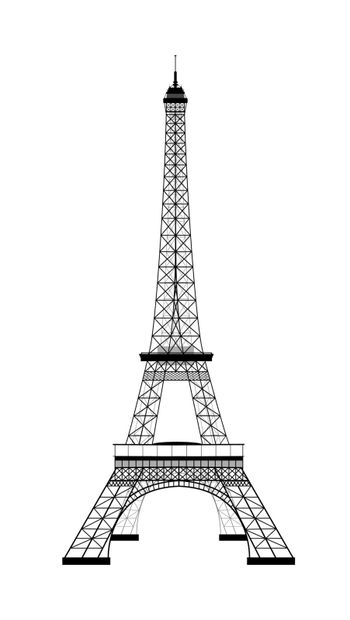 Eiffel Tower on white. Sight. Silhouette of the Eiffel Tower. Vector illustration.