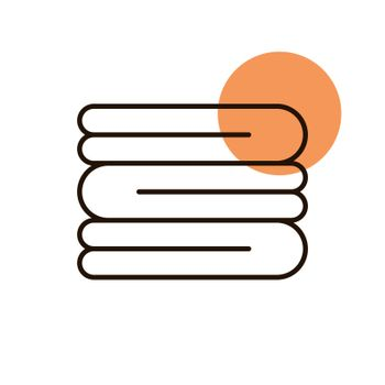 Stack of folded bath towels or napkins vector icon. Hotel sign. Graph symbol for travel and tourism web site and apps design, logo, app, UI