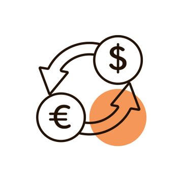 Currency exchange flat vector icon. Graph symbol for travel and tourism web site and apps design, logo, app, UI