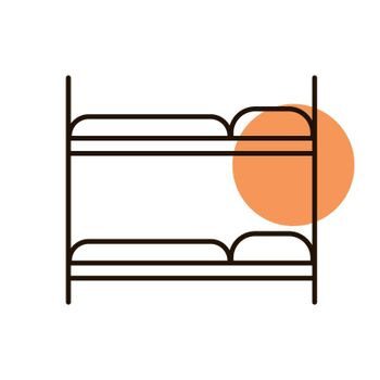 Bunk bed flat vector icon. Graph symbol for travel and tourism web site and apps design, logo, app, UI