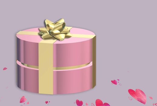 Gifts box. Pink gift box top view with gold bow. Dark background golden text lettering. Horizontal banner, poster, header website. 3D illustration