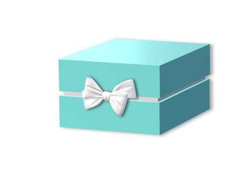 Gift box, present side view on white background. Turquoise blue box, place for text. Valentines, love design, sale, surprise, gift, birthday, wedding, Valentines day card. 3D render