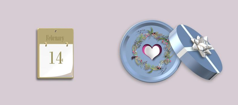 Happy Valentines day, gift box, heart, calendar, 14th February. Love concept, Valentines design. Place for text, mock up 3D illustration