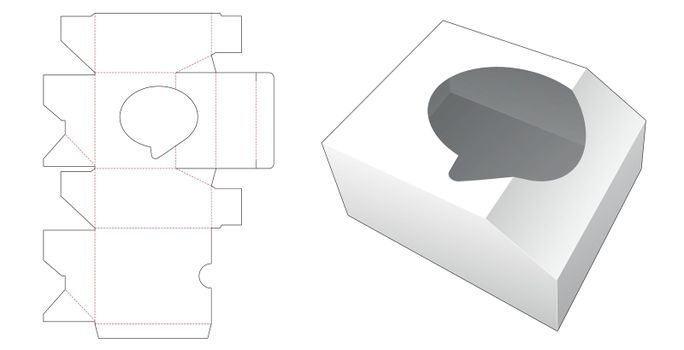 Chamfered box with speech balloon shaped die cut template
