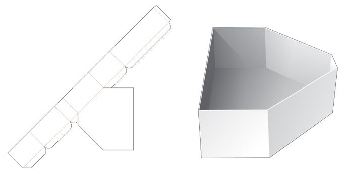 Chamfered triangular shaped tray die cut template