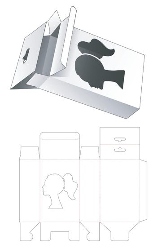 Packaging box die cut template