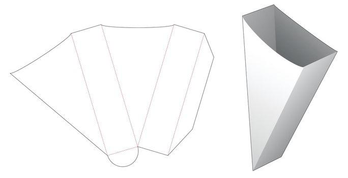 Triangular bread container die cut template