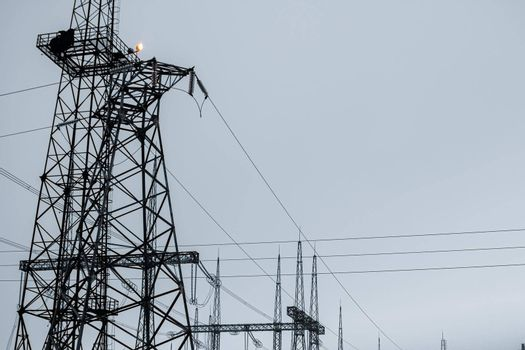 High voltage post or High voltage tower. High quality photo